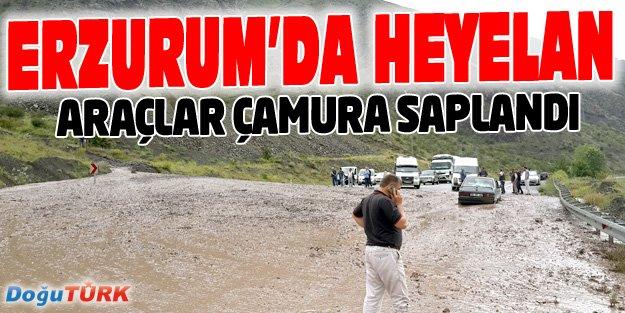 ERZURUM'DE HEYELAN, ARAÇLAR ÇAMURA SAPLANDI