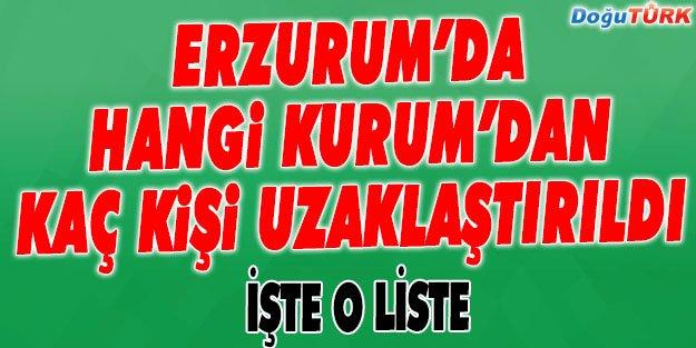 ERZURUM'DA HANGİ KURUMDAN KAÇ KİŞİ UZAKLAŞTIRILDI!