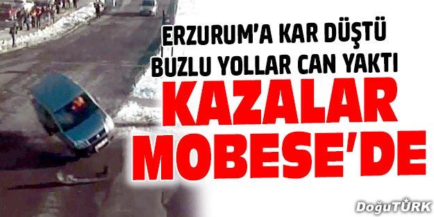 ERZURUM'DA TRAFİK KAZALARI MOBESE'YE YANSIDI