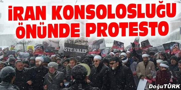 ERZURUM'DA İRAN KONSOLOSLUĞU ÖNÜNDE PROTESTO