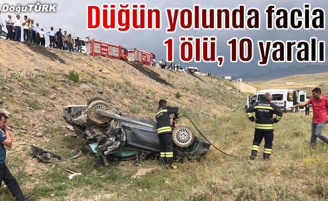 Düğün yolunda feci kaza: 1 ölü, 10 yaralı