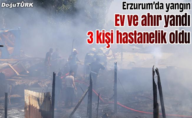 Erzurum'da bir ev ve ahır kül oldu