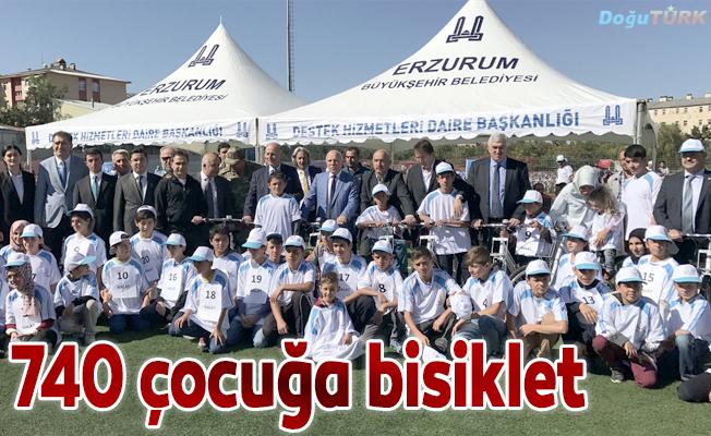 Erzurum'da 740 öğrenciye bisiklet hediye edildi