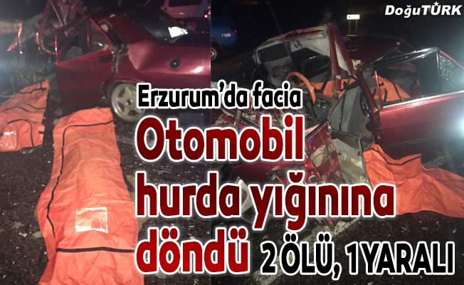 Erzurum'da otomobille kamyon çarpıştı: 2 ölü, 1 yaralı