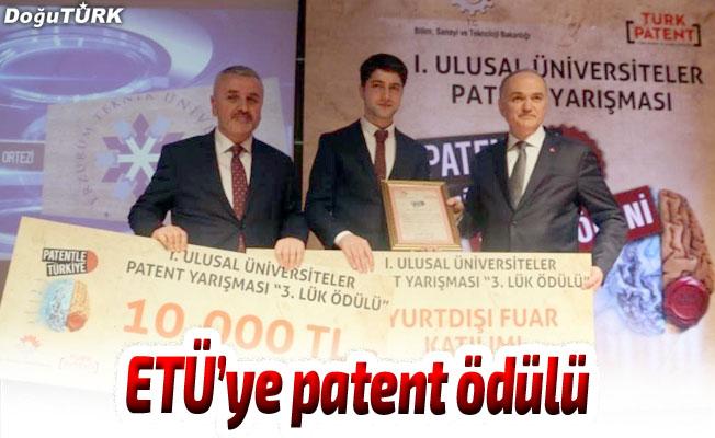 Erzurum Teknik Üniversitesi'ne patent ödülü