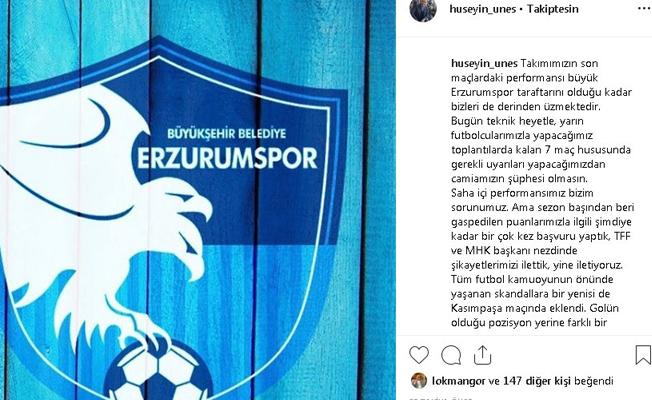 BB Erzurumspor Başkanı Üneş'ten hakem kararlarına tepki