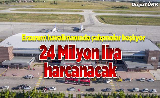 Erzurum Havalimanı pisti yenileniyor