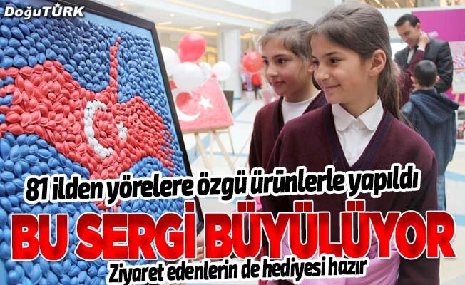 Yörelerine özgü ürünlerle Türk bayrağını yaptılar