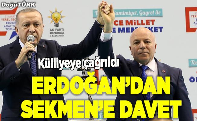 Erdoğan'dan Sekmen'e davet