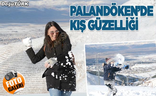 Beyaz örtüyle kaplanan Palandöken'de kış güzelliği