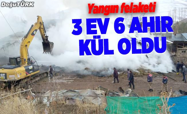 İspir'de 3 ev ve 6 ahır yandı