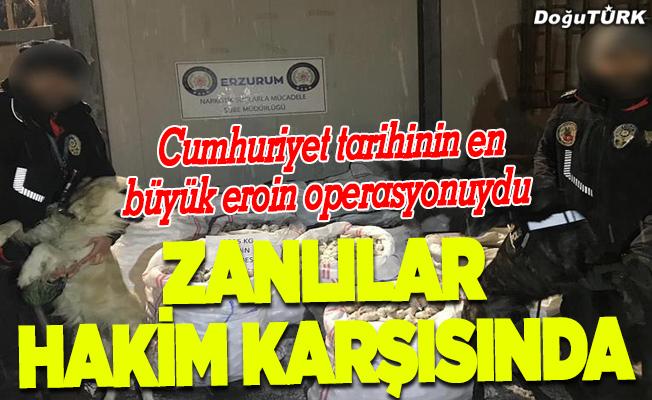 """""""Cumhuriyet tarihinin en büyük eroin operasyonu"""" sanıkları hakim karşısında"""