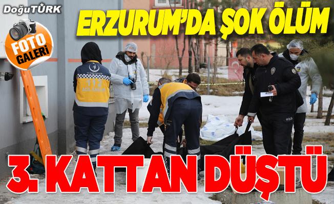 Erzurum'da şok ölüm! 3. katta düştü