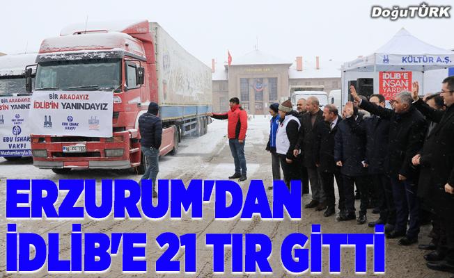 Erzurum'dan İdlib'e 21 tır insani yardım