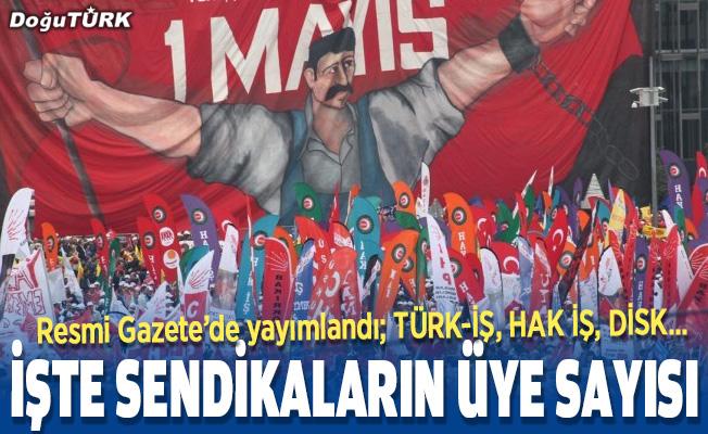 İşçi sendikalarının üye sayıları Resmi Gazetede yayımlandı