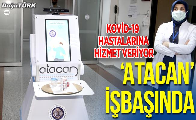"""Kovid-19 hastalarının hemşire robotu """"Atacan"""" göreve başladı"""