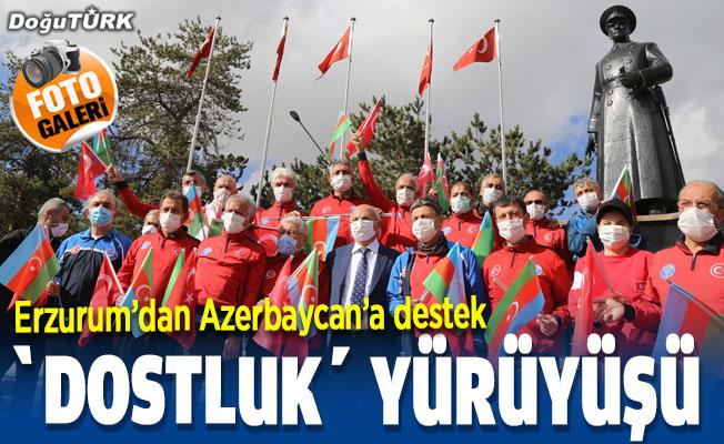 """Erzurum'da """"Türkiye Azerbaycan dostluk yürüyüşü"""" düzenlendi"""