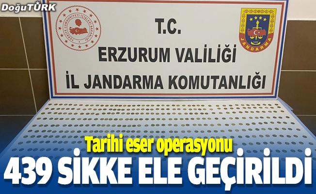 Erzurum'da tarihi eser operasyonunda 439 sikke ele geçirildi