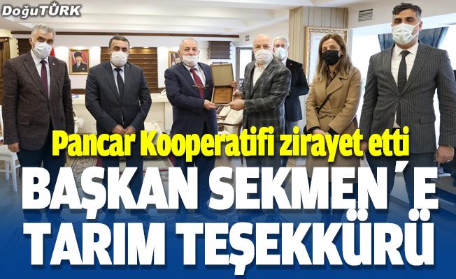 Pancar Kooperatifi'nden Başkan Sekmen'e tarım teşekkürü