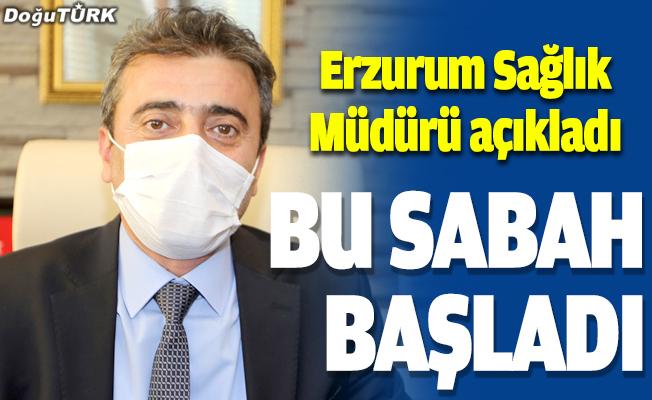 Erzurum'da sağlıkçılar aşı oluyor