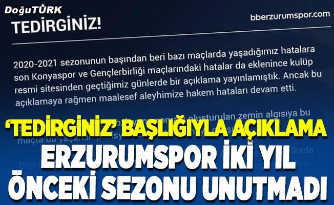 BB Erzurumspor Kulübünden hakem hatalarıyla ilgili açıklama…