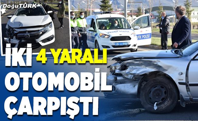 Erzurum'da iki otomobil çarpıştı: 4 yaralı