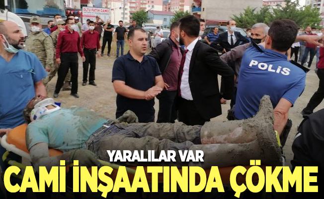 Erzurum'da cami inşaatında çökme: 3 yaralı