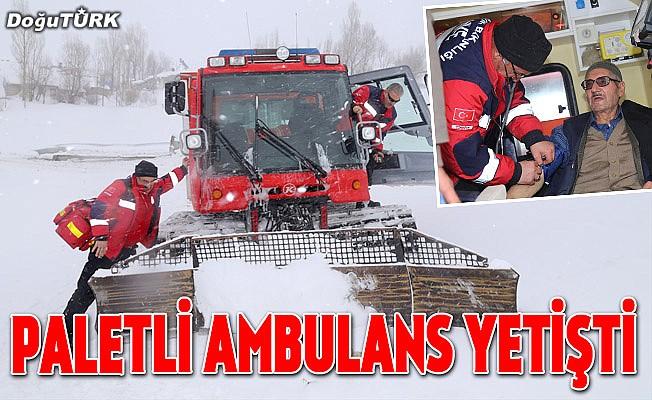 Kardan kapanan yolu açıp kalp hastasının imdadına yetiştiler