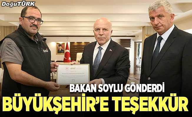 Bakan Soylu'dan Büyükşehir'e teşekkür belgesi