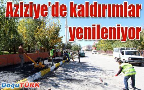 AZİZİYE'DE KALDIRIMLAR YENİLENİYOR
