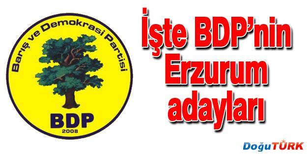 BDP'NİN ERZURUM ADAYLARI