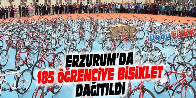 ERZURUM'DA 185 ÖĞRENCİYE BİSİKLET DAĞITILDI