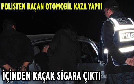 POLİSTEN KAÇIP ŞARAMPOLE UÇAN OTOMOBİLDEN  KAÇAK SİGARA ÇIKTI