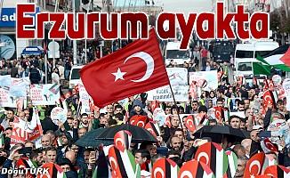 Erzurum, 'Katil İsrail' sloganlarıyla inledi
