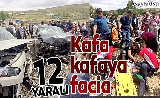 Otomobiller kafa kafaya çarpıştı: 12 yaralı