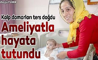 Kalp damarları ters olan bebek, ameliyatla sağlığına kavuştu