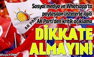 AK Parti'den aday listelerine ilişkin açıklama: Dikkate almayın