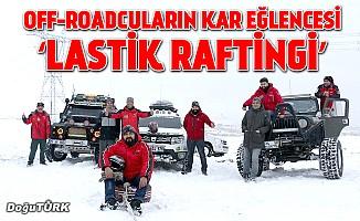 Off-roadcuların kar eğlencesi 'lastik raftingi'