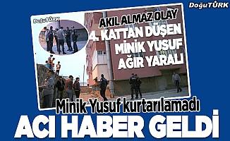Erzurum'da balkondan düşen çocuk kurtarılamadı