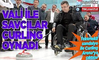 Vali Memiş, tekerlekli sandalyede curling oynadı
