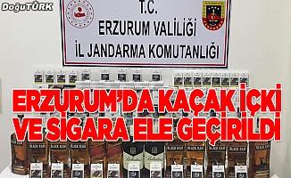Erzurum'da kaçak içki ve sigara operasyonu