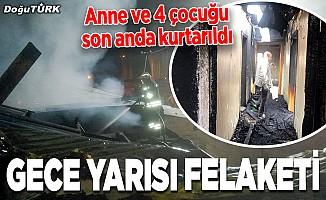 Erzurum'da yangın felaketi: Anne ve 4 çocuğu son anda kurtarıldı