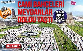 Erzurum'da binler saf tuttu!. Cami bahçeleri ve meydanlar doldu taştı