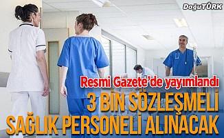 3 bin sözleşmeli sağlık personeli ilanı Resmi Gazete'de
