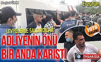 Erzurum Adliyesi'nin önü bir anda karıştı; Çok sayıda gözaltı var