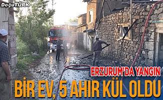 Erzurum'da bir ev, 5 ahır kül oldu