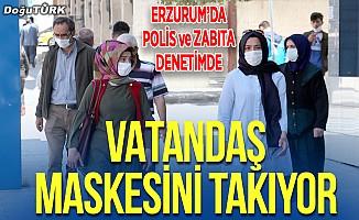 Erzurum'da polis ve zabıta ekipleri maske denetimi yaptı