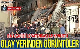 Erzurum'da 5 katlı bina çöktü; Olay yerinden görüntüler...