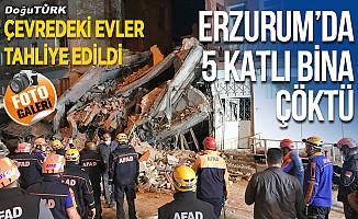 Erzurum'da 5 katlı bina tamamen çöktü