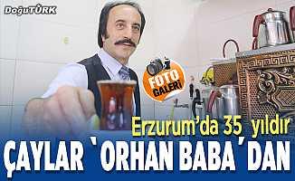 """Erzurum'da 35 yıldır çaylar """"Orhan baba""""dan"""